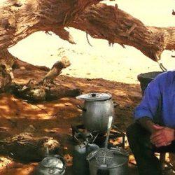 Ein Mann in Hemd und Hose sitzt im Freien auf einem Hocker auf sandigem Boden neben einem Baum. Neben ihm stehen Kochuntensilien. Er schaut in die Kamera. © Robin Menges